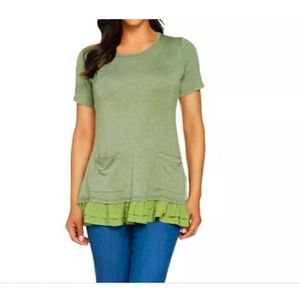 Logo Lounge French Terry Cypress Green Pocket Top